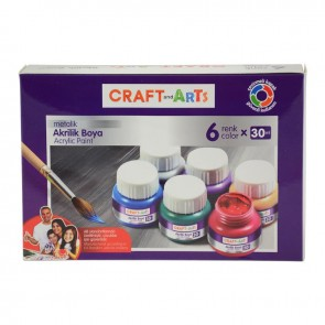 Craft And Arts Akrilik Boya 6x30 ml Metalik Renk