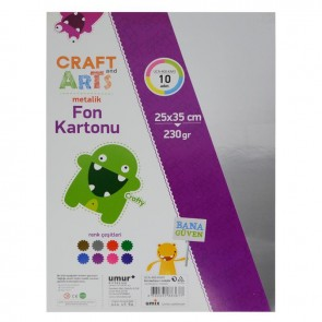 Craft And Arts Metalik Fon Kartonu 230Gr 10'Lu 25X35 Poşetli