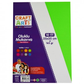 Craft And Arts Oluklu Mukavva 10'lu Paket - Neon Renkler
