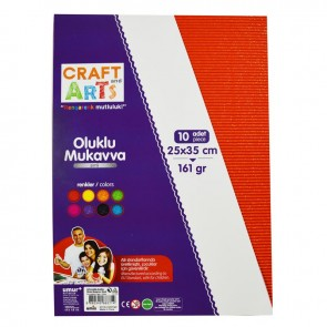 Craft And Arts Oluklu Mukavva 10'lu Paket - Simli