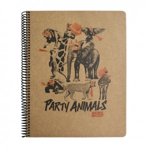 MYNOTE ANIMAL PLANET A4 100 Yaprak Kraft Kareli Defter Party Animal