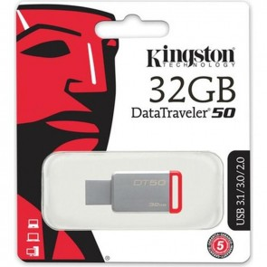 Kingston 32Gb Usb3.1 Memory Dt50 / 32Gb Flash Bellek Metal / Kırmızı