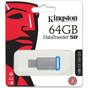Kingston 64Gb USB 3.1 Memory Dt50/ 64Gb Flash Bellek Metal / Mavi
