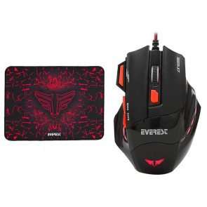 Everest SGM-X7 Usb Siyah 2in1 7200dpi Makrolu Oyuncu Mouse +Gaming Mouse Pad